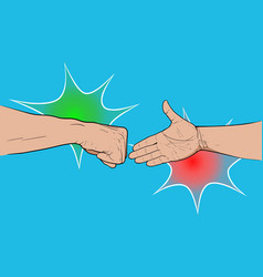 shaking hands fist vector image