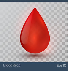 Single blood drop isolated on white background vector