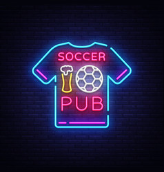 soccer pub neon sign football pub logo vector image
