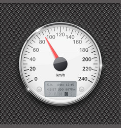 speedometer round white gauge with chrome frame vector image