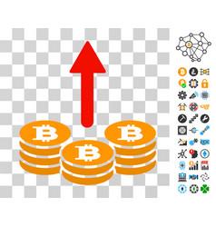 Spend bitcoin coins icon with bonus vector