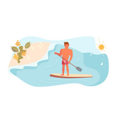 Stand up paddle surfing concept vector