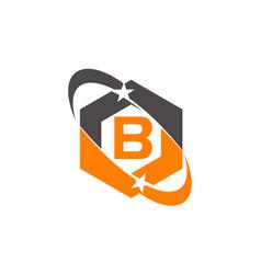 Star swoosh letter b vector