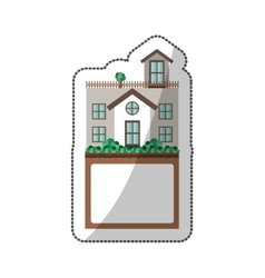 Sticker of house with terrace and label vector