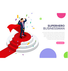 superhero businessman standing on a pedestal vector image