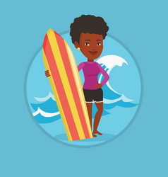 surfer holding surfboard vector image vector image