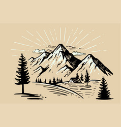 tent camping in forest near mountains vector image
