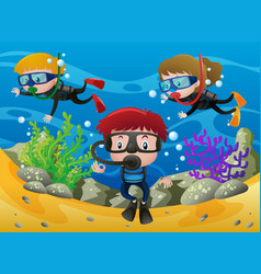 Three kids diving under the ocean vector