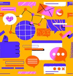 Trendy social media cartoon icon seamless pattern vector