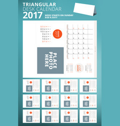 Triangular desk calendar planner for 2017 year vector