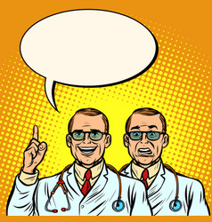two doctors joyful and skeptical medicine and vector image