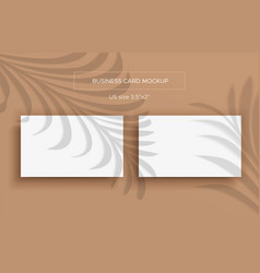 two white business cards mockup and overlay shadow vector image