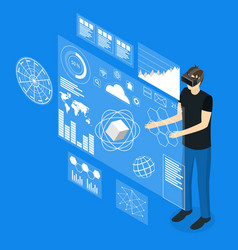 Virtual reality man with futuristic technology vector