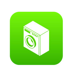 washing machine icon green vector image