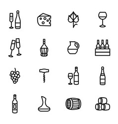 wine signs black thin line icon set vector image