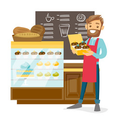 Young worker of the bakery offering cupcakes vector