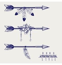 Boho style arrows feathers and flowers vector