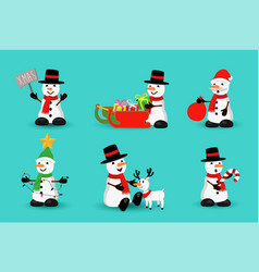 christmas snowman funny holiday cartoon set vector image