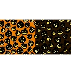Double Halloween card with pumpkins vector image vector image
