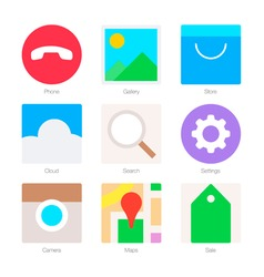 Minimal Flat Icons for mobile phones Set 2 vector image vector image