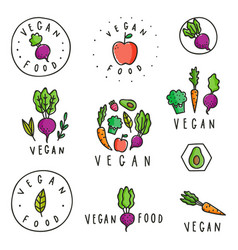 set of vegan food badges vector image vector image