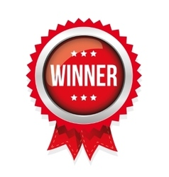 Winner red badge vector image vector image
