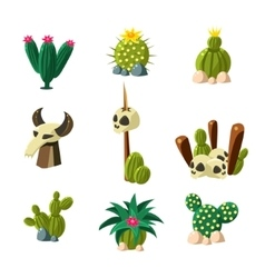 Blossom cactus and skull set vector
