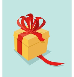 Cartoon Gift box with ribbon bow and blank tag vector image vector image