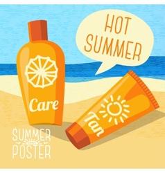 Cute summer poster - sun care creams on the beach vector