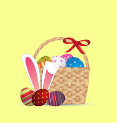 happy easter day design basket of easter eggs vector image vector image