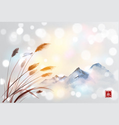 landscape with far mountains and dragofly on vector image vector image