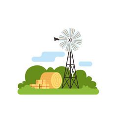 old farm windmill vector image