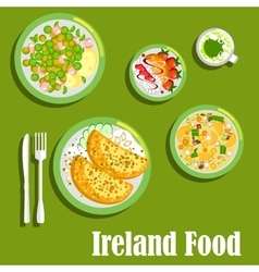 Rich meaty dishes of irish cuisine flat icon vector image