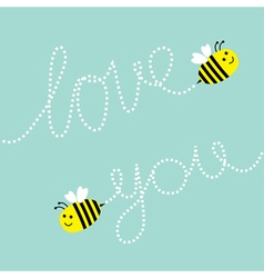 Two cute flying bee Dash line Love you text in the vector image vector image
