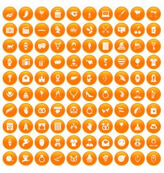 100 heart icons set orange vector
