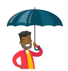african insurance agent standing under umbrella vector image vector image