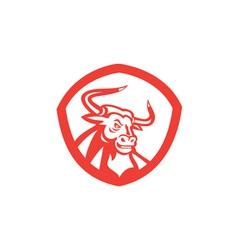 Angry Texas Longhorn Bull Head Shield Retro vector image vector image