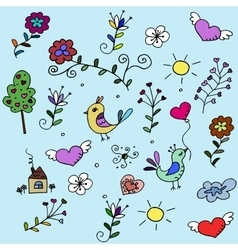 pattern with hearts birds and flowers for fabrick vector image