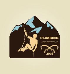 vintage mountain climbing logo - sport activity vector image