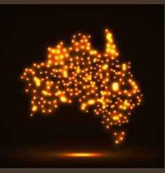 abstract map of australia with glowing particles vector image vector image