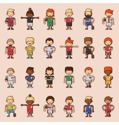 Football team sport soccer players group vector image