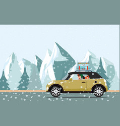 happy family going to a winter traveling through vector image vector image