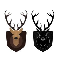 Hunting trophy Stuffed taxidermy deer head Color vector image vector image