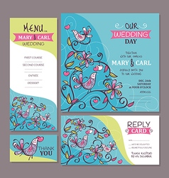 Set of cute wedding cards vector image vector image