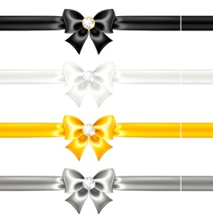Silk bows black and gold with diamonds and ribbons vector image vector image