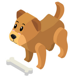 3d design for cute puppy and bone vector