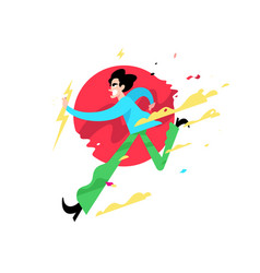 a running evil guy a cute young man is running vector image