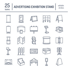 advertising exhibition banner stands display line vector image