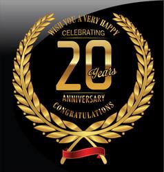 Anniversary golden laurel wreath 20 years vector
