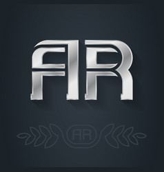 Ar - metallic 3d icon or logotype template a and vector